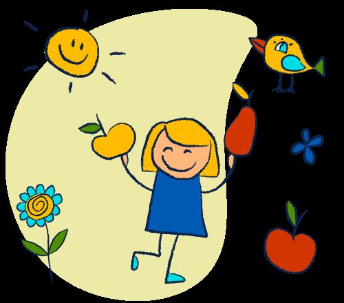 Gesunde Ernährung für unsere Kinder - Doodle Bild