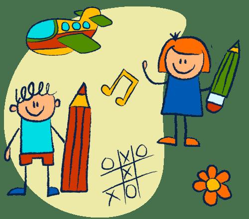 Kinder spielen - Doodle Bild
